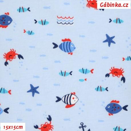 Bavlněný jednolícní úplet - Podmořský svět na sv. modré, ATEST 1, 15x15 cm