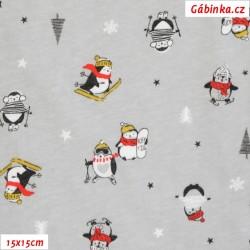 Bavlněný jednolícní úplet - Tučňáci na lyžích na šedé, ATEST 1, 15x15 cm