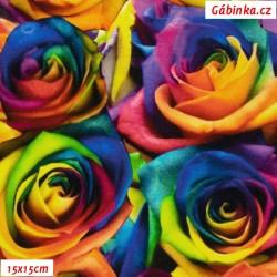 Teplákovina s EL Digitální tisk - Duhové růže, 15x15 cm