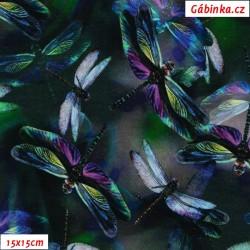 Teplákovina s EL - Vodní vážky na tmavé, digitální tisk, šíře 180 cm, 10 cm, ATEST 1