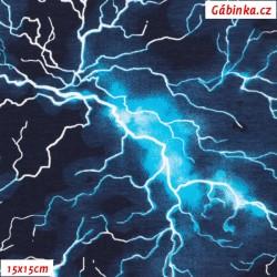 Úplet s EL - Blesky na tm. modré, 15x15 cm