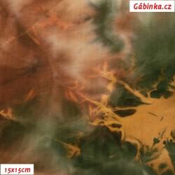 Úplet s EL - Hnědozelená batika, 15x15 cm