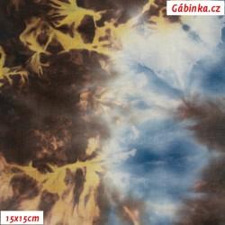 Úplet s EL - Modrohnědá batika, 15x15 cm