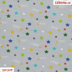 Úplet s EL - Hvězdičky s kometou na šedé, ATEST 2, 15x15 cm