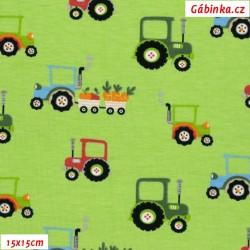 Úplet s EL - Traktory na jarní zelené, ATEST 2, 15x15 cm