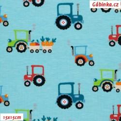 Úplet s EL - Traktory na světle modré, ATEST 2, 15x15 cm